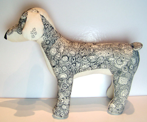 A toy dog that I doodled on