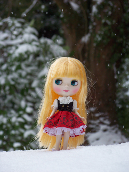 My Blythe doll in the snow