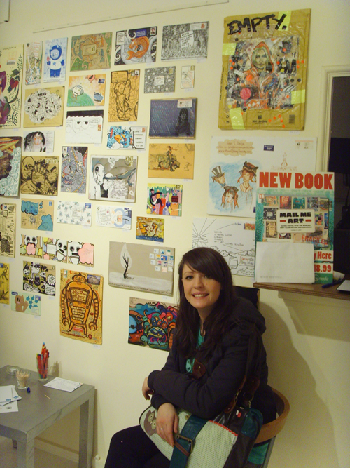 My sister, Meg, at the exhibition