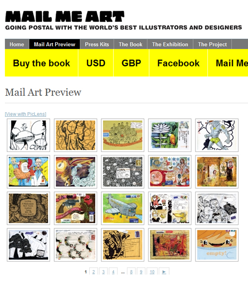 Screen shot from the Mail Me Art website