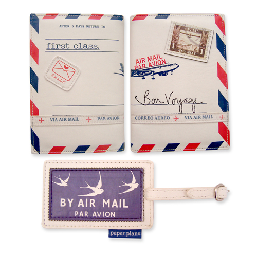 Paper Plane passport and luggage tag set