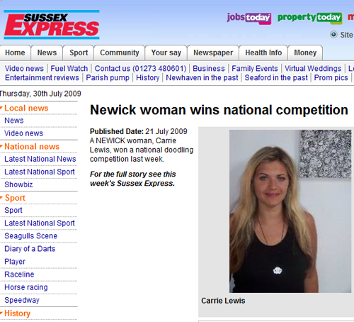 Screenshot from the Sussex Express website