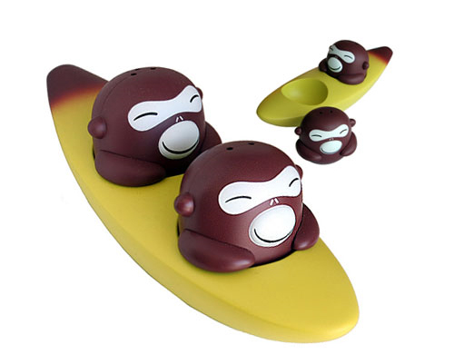 Salt and pepper monkeys in a banana boat
