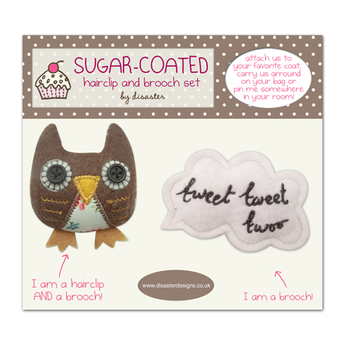 Sugar Coated Owl brooch/hairclip set