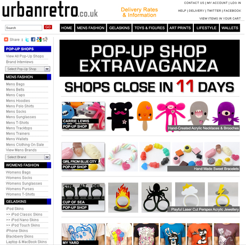Urban Retro website screenshot