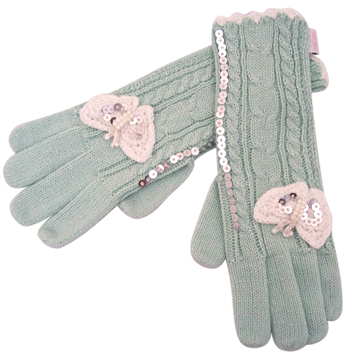 Knitted butterfly gloves