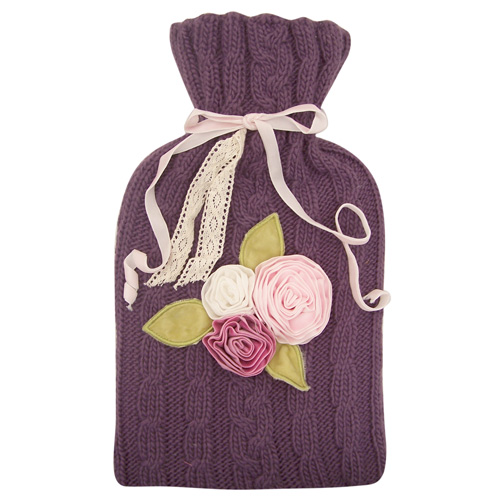 Lavish purple hot water bottle