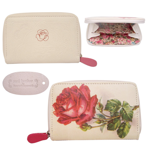 Vintage leather purse - rose design