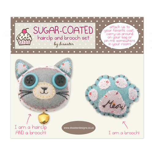 Sugar Coated Cat brooch set