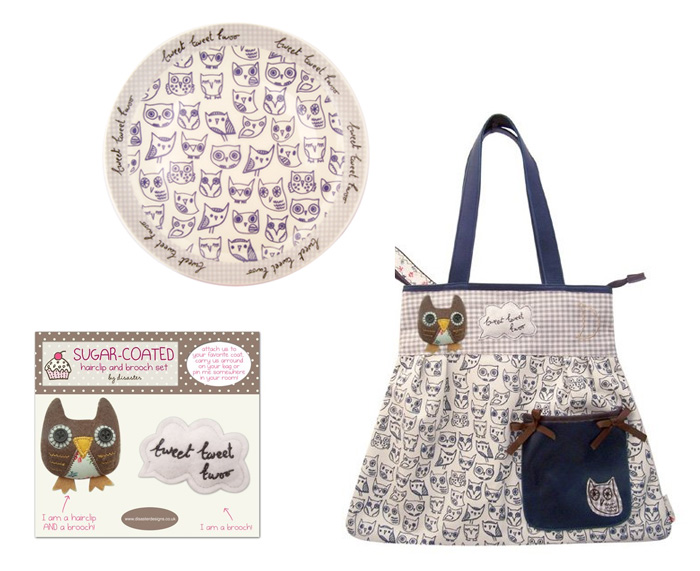 Sugar Coated Owl plate, brooch set and shopper