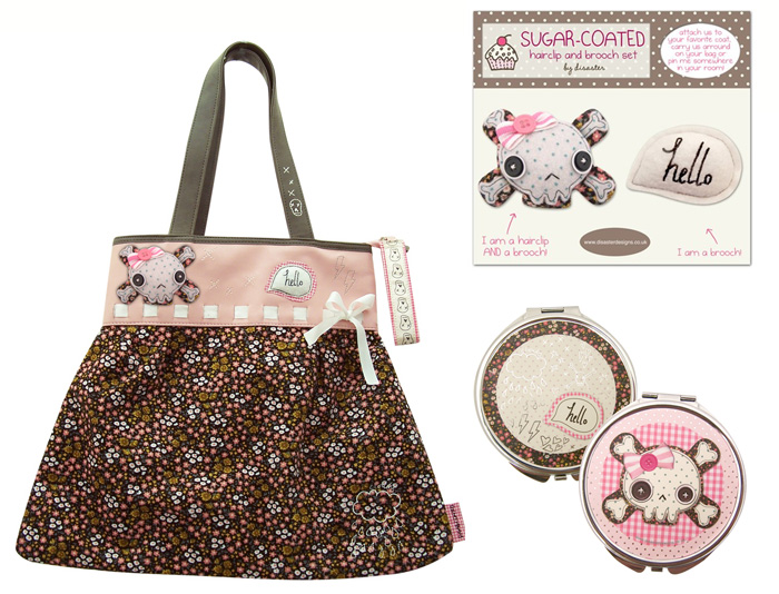 Sugar Coated Skull shopper, brooch set and compact mirror