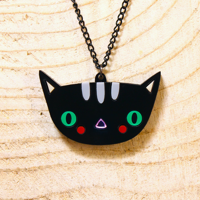 Doodllery handmade acrylic cat necklace