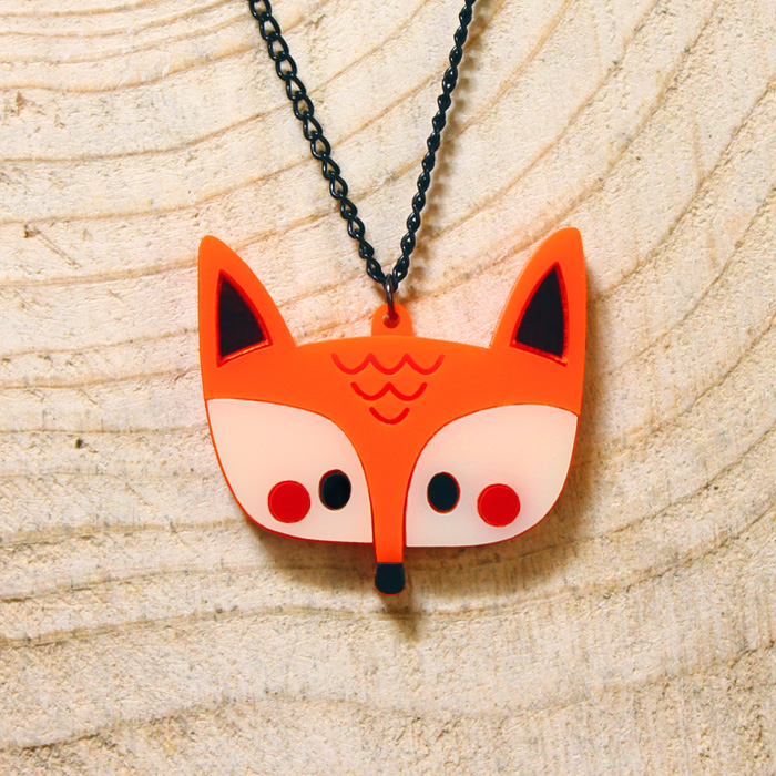 Doodllery handmade acrylic fox necklace