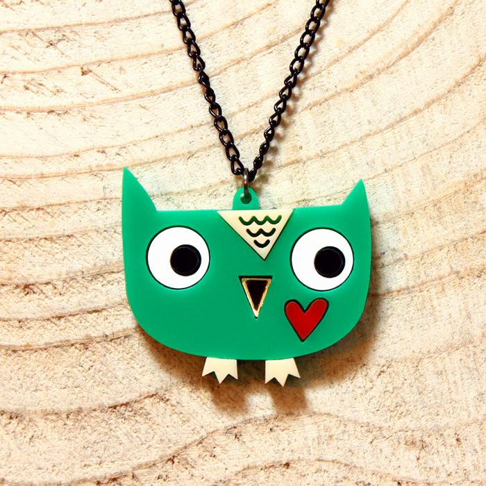 Doodllery handmade acrylic owl necklace