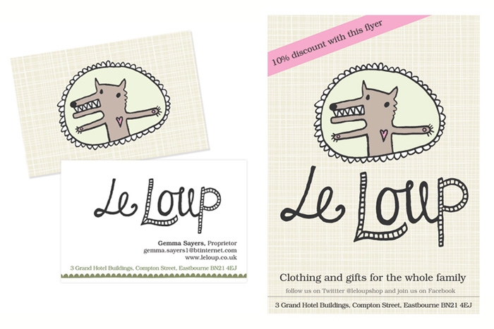 Le Loup business card and flyer design