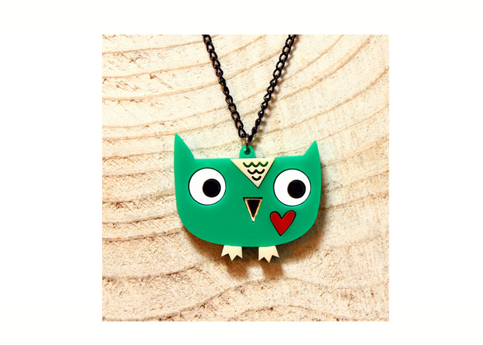 Doodllery handmade owl necklace