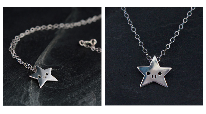 Sterling silver handmade star necklace