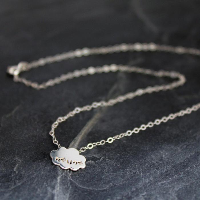Doodllery handmade silver cloud necklace