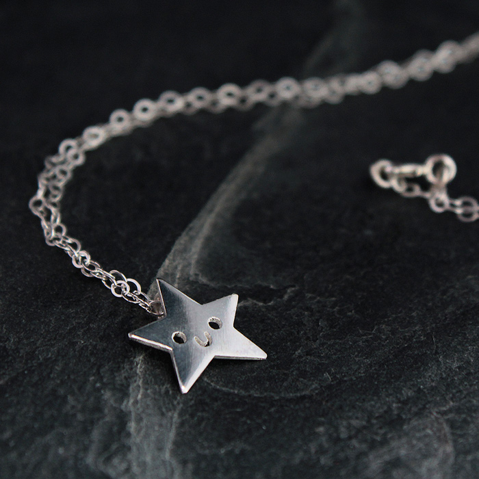 Doodllery handmade silver star necklace